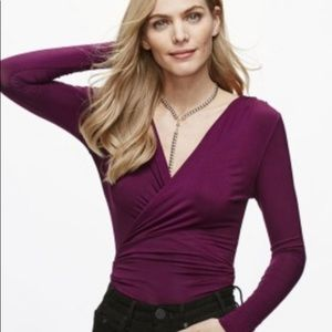 New Free People Be Your Baby Purple Faux Wrap Top